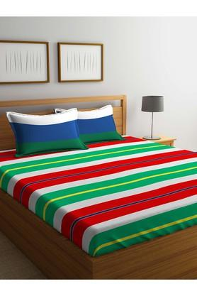 PORTICOStripe Double Fitted Bed Sheet With Pillow Cover - 203990066_9900