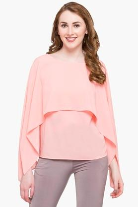 Womens Round Neck Solid Cape Top