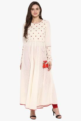 JUNIPER Womens Embroidered Printed Anarkali Kurta With Mirror Work