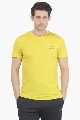 ALCIS Mens Slim Fit Round Neck Solid T-Shirt - 203098773