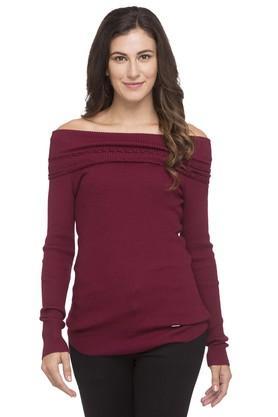 ELLEWomens Off Shoulder Neck Knitted Sweater