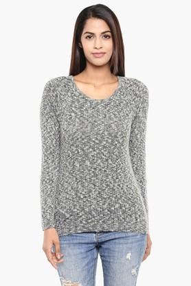 ALLEN SOLLY Womens Round Neck Textured Sweater