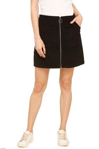 Womens 2 Pocket Solid Skirt