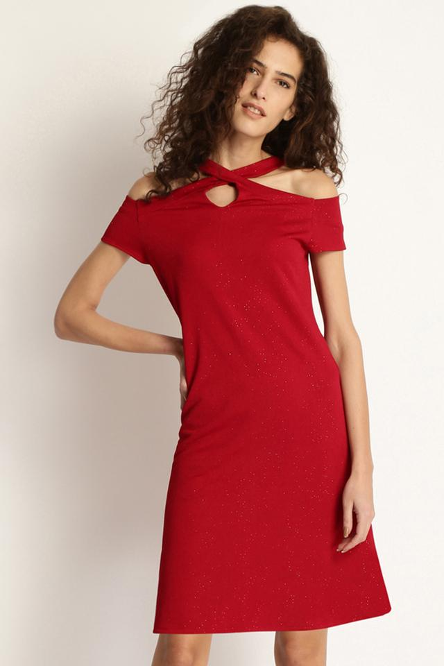 Womens Solid Sheath Dress