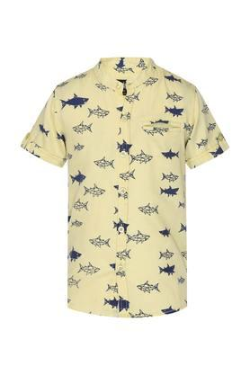 Boys Band Neck Printed Shirt