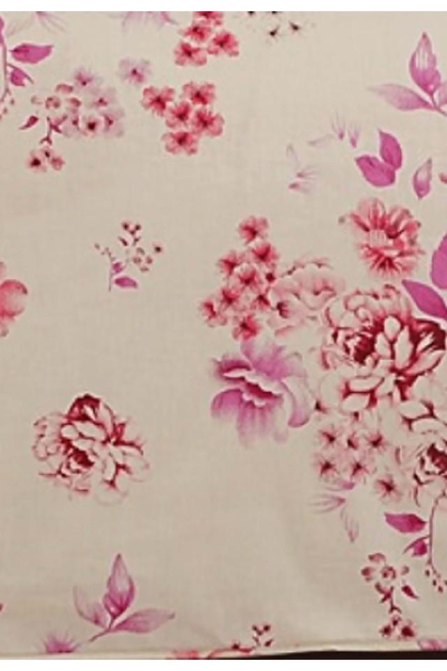 Off White and Magenta Floral Double AC Comfortor