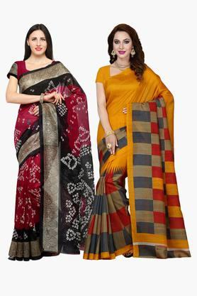 ISHIN Womens Bhagalpuri Art Silk Printed Sarees - Set Of 2
