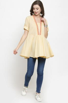 Womens V Neck Solid Tunic