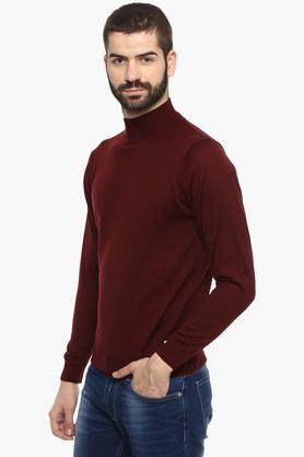 Mens High Neck Solid Sweater