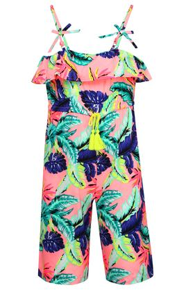 Girls Square Neck Printed Jumpsuits