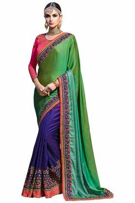 VRITIKA Womens Embroidered Saree With Blouse - 204144524_9463