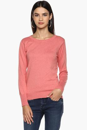 ALLEN SOLLY Womens Round Neck Slub Sweater