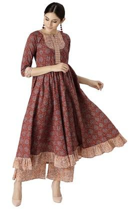 LIBAS Womens Cotton Printed Kurta With Palazzo - 204186238_7086