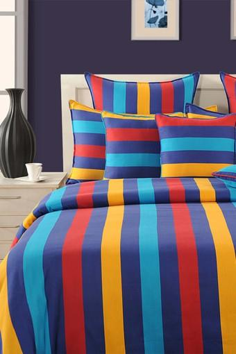 Stripe Double Bed Sheet with 2 Pillow Covers