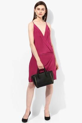 Womens Surplice Neck Solid blouson Dress