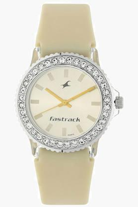 Fastrack Beige Dial Plastic Strap Watch - 9827PP15J image