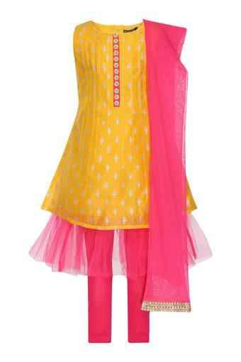 Girls Round Neck Printed Layered Churidar Suit