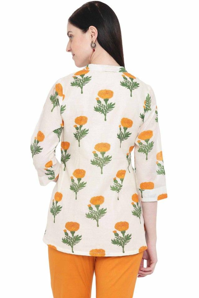 Womens Collared Printed Top