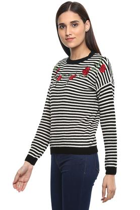 Womens Round Neck Stripe Sweater