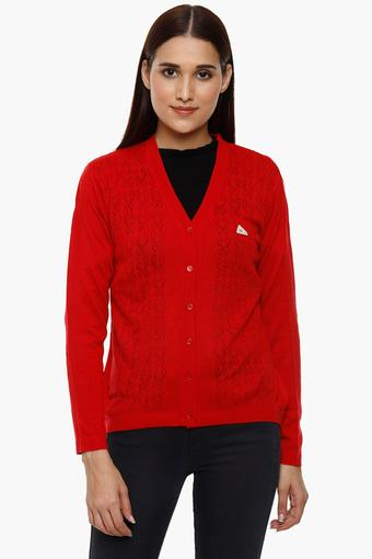 Womens V-Neck Perforated Cardigan