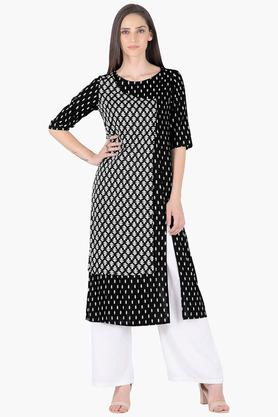 INDYA Womens Round Neck Printed Regular Fit Kurta - 203316682