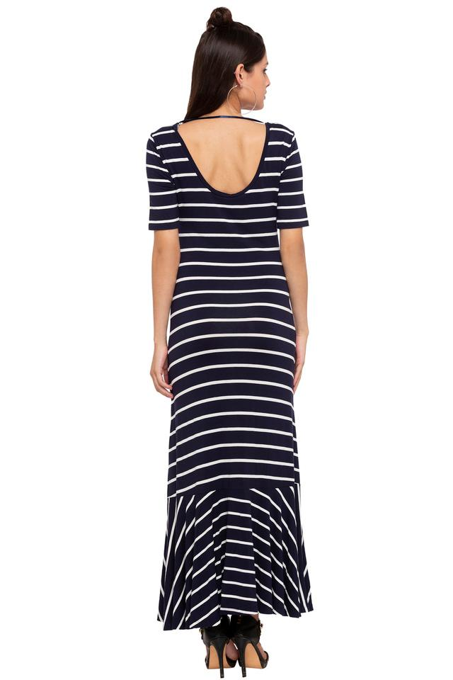 Womens Round Neck Stripe Maxi Dress
