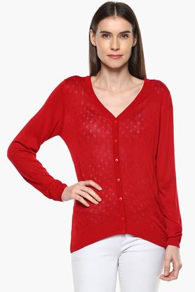 VAN HEUSEN Womens V-Neck Perforated Sweater