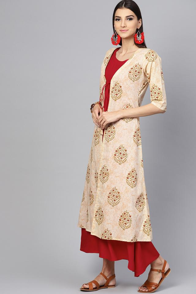 Womens Round Neck Solid A-line Dress with Printed Jacket