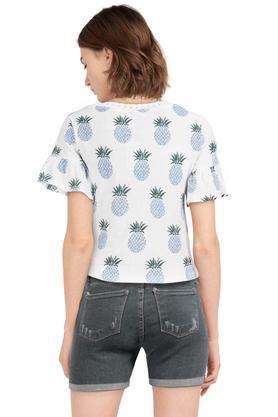 Womens Round Neck Printed Tie Up Crop Top