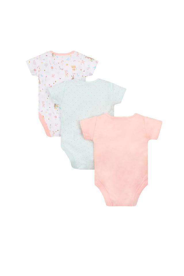 Girls Envelope Neck Printed Babysuits - Pack Of 3