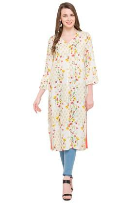 FUSION BEATS Womens V Neck Printed Kurta