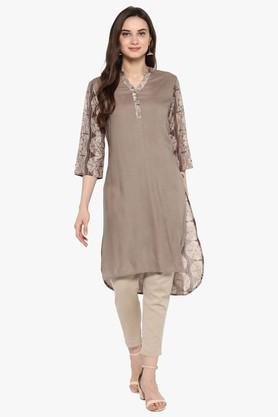 JUNIPER Womens Bagru Print Kurta With Piping Detailing