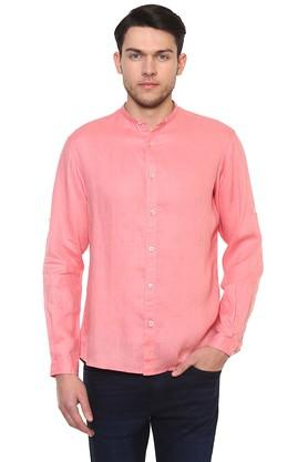 Mens Mandarin Collar Slub Shirt