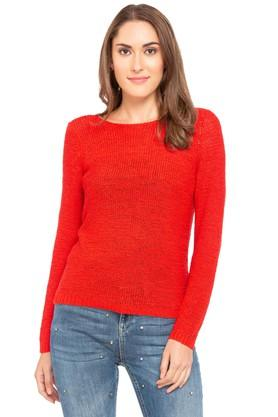 ONLY Womens Round Neck Knitted Pattern Pullover - 204753823_8425