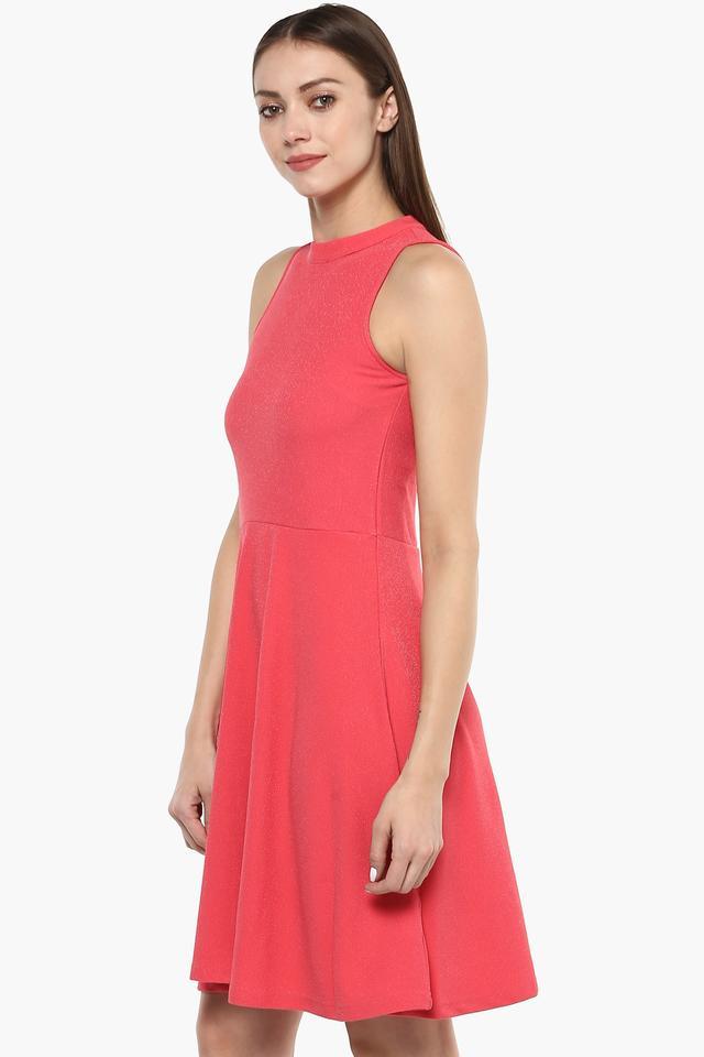 Womens Round Neck Self Pattern Flared Dress