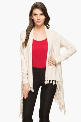 GIPSY Womens Open Front Solid Asymmetrical Shrug