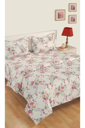 Floral Print Double Bed Sheet With 2 Pillow Covers and Double AC Comforter
