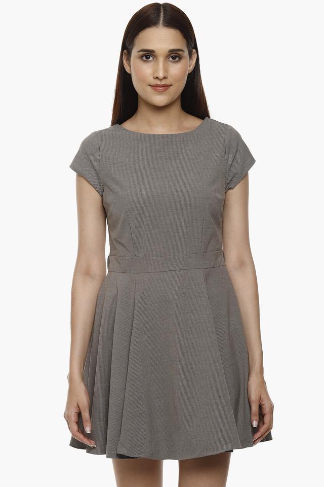 Womens Round Neck Solid Short Dress