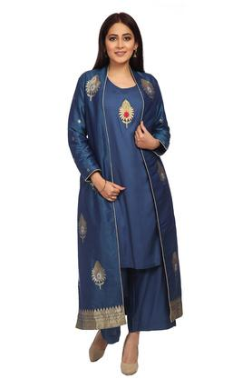 BIBA Womens Round Neck Embroidered Kurta, Jacket And Pants Set