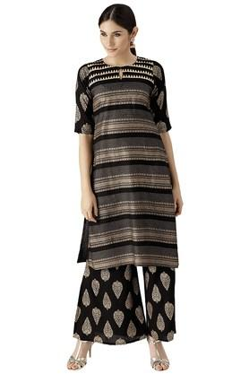 LIBAS Womens Block Print A Line Kurta With Palazzo