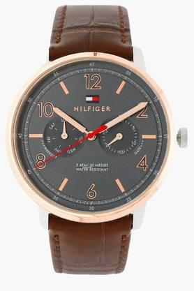 TOMMY HILFIGERGrey Dial Leather Strap Watch - TH1791357J