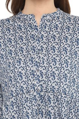 Womens Mandarin Collar Printed Knee Length Dress
