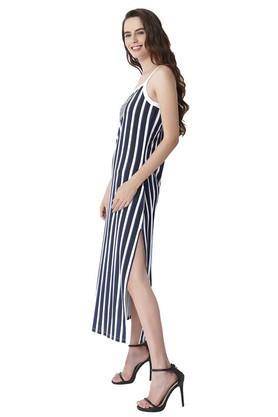 Womens Spaghetti Neck Stripe Maxi Dress