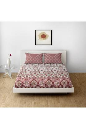 SPACESCotton Printed Double Bedsheet With 2 Pillow Covers - 203257374_9900
