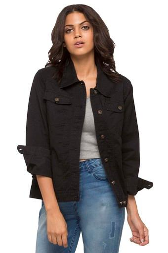 Women Basic Black Denim Jacket