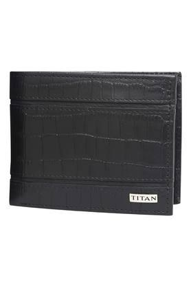 TITAN Mens Leather 1 Fold Smart Wallet - Black