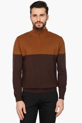 WILLS LIFESTYLEMens Zip Through Neck Colour Block Sweater
