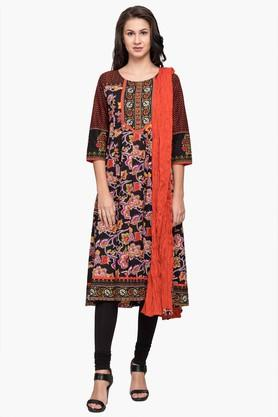 STOP Womens Round Neck Printed Kurta Churidar And Dupatta Set