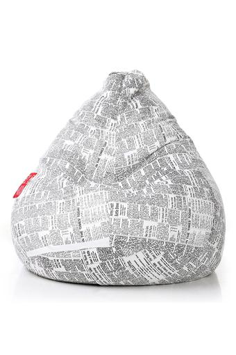Classic Canvas Newspaper Printed Bean Bag XXL Size with Fillers