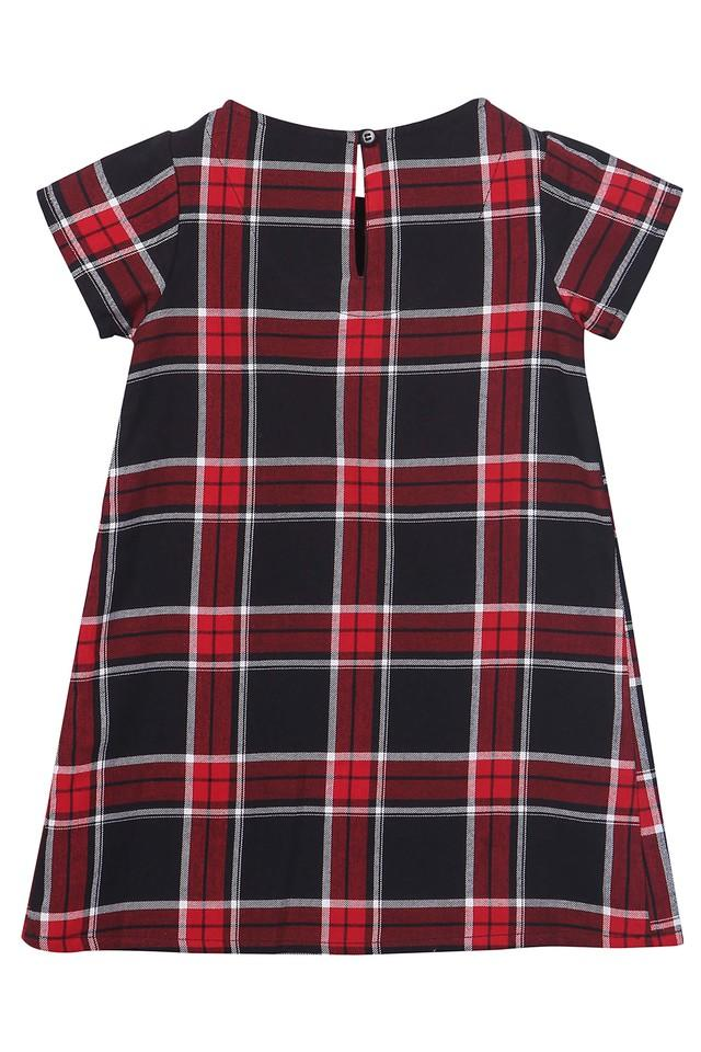 Girls Round Neck Checked knee Length Dress